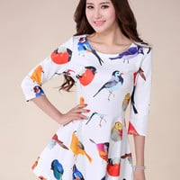 Harajuku Kawaii Lolita Birds Printing Round Neck Slim Dress - White or Black - S M L from Tobi's Finds