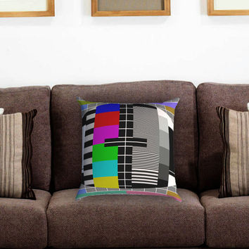 Tv Test Pattern Pillow Cover , Custom Zippered Pillow Case One Side Two Sides