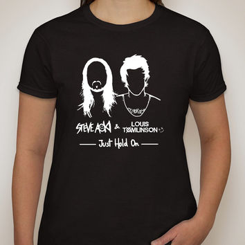 """Steve Aoki / Louis Tomlinson """"Just Hold On"""" Single Cover T-Shirt"""