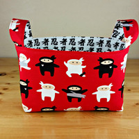 I Am Ninja in Red with Japanese Writing Medium Fabric Basket Storage Bin