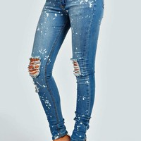 Ruby Paint Effect Ripped Skinny Jeans