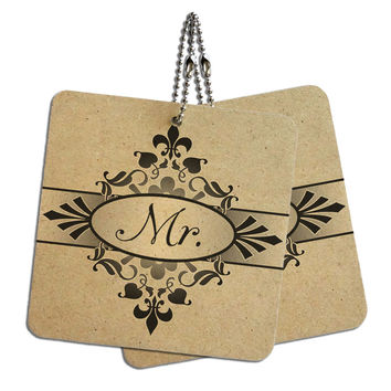 "Mr Mister on Floral Pattern Groom Man His Husband Wood MDF 4"" x 4"" Mini Signs Gift Tags"