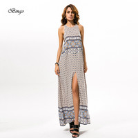 Women summer dress 2016 European and American one size vestidos female Bohemian round neck printing Big Hem Split Beach dresses