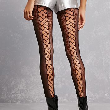 Illusion Lace-Up Tights