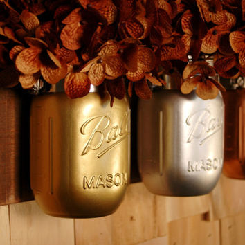 Industrial Chic mason jar trio on dark stained recycled board rustic wall decor home decor cabin decor