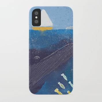 The Whale And The Yellow Sail Boat iPhone Case by jamespeartillustrations