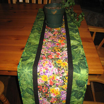 Quilted Table Runner Purple, Yellow and Orange Flowers with Green Leaves
