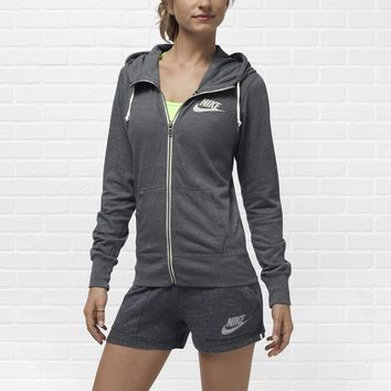 Nike Gym Vintage Full-Zip Women's Hoodie - Dark Grey