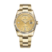 Rolex Day-Date 36 118238 Gold Watch (Champagne Jubilee Design Set with Diamonds) | World's Best