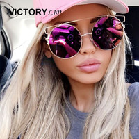 2016 New Fashion Brand Designer Cat Eye Oversized Big Lens Sunglasses Women UV400 Lady Rose Gold Sun Glasses Female