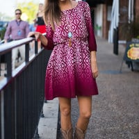 Ahhh-mbre Dress, Burgundy/Ivory