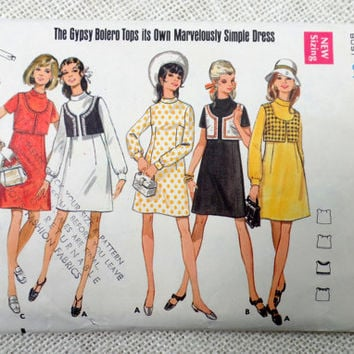 Butterick 5231 vintage sewing pattern 1960s bolero cropped vest Mini Mod Groovy Shift Dress Sack 1969 long Sleeve Bust 34