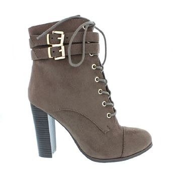 2Buckle Lace Up Ankle Bootie