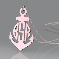 Personalized monogram necklace rose gold plated --1.5 inch best gift choice for anniversary