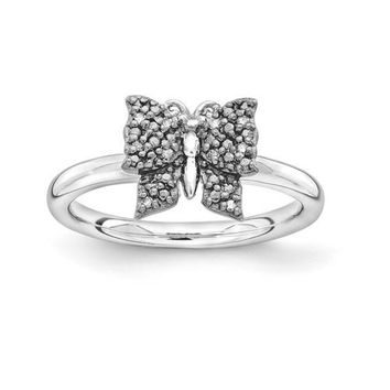 Sterling Silver Stackable Expressions Black Plated Diamond Butterfly Ring