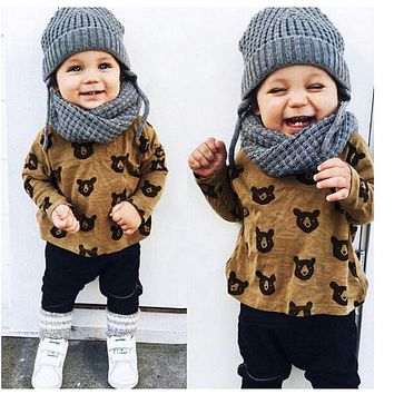 Spring autumn baby girl clothes bear T-shirt+Pants clothing set newborn baby boy print fox letter pattern outfit suit
