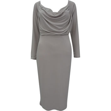 Gray Plunging Long Sleeve Midi Dress
