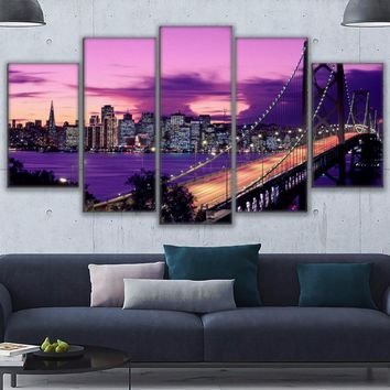 Canvas Prints Paintings Living Room Wall Art Posters Framework 5 Pieces Purple Sunset San Francisco Bridge Pictures Home Decor