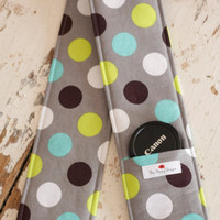 DSLR Camera Strap Cover- lens cap pocket and padding included- Splendid Dot