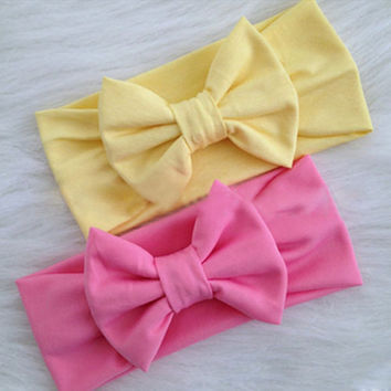 1 X Kawaii Girls Kids Baby Soft Cotton Bow Hairband Headband Stretch Turban Knot Head Wrap Hair Band Accessories