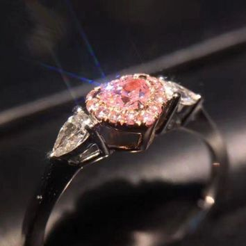 New Pink Heart Simulation Diamond Ring Drilling Claw Inlay Zircon Female Models Pink Diamond Ring