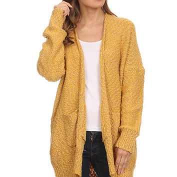 Chunky Knit Cardigan in MUSTARD