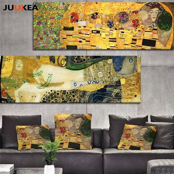 Classic Styles Decorative Painting Klimt kiss Abstract Art Canvas Oil Painting Print Wall Picture Modern Home Decor Living Room