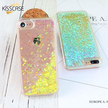 KISSCASE Glitter Biling Quicksand Phone Case For iPhone 8 7 6s 6 5s 5 Luxury Flowing Girly Shells For iPhone 8 7 6 6S Plus Capa