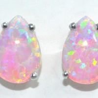 4 Carat Pink Opal Pear Stud Earrings .925 Sterling Silver Rhodium Finish White Gold Quality