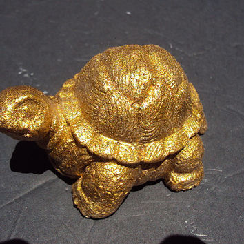 Turtle, Statue, Statuary, Brass Finished Stone Turtle, Hand Made