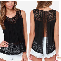 2015 New Trendy Women's Sexy Lace Hook Flower Vest Sleeveless Tops Plus Size S-4XL = 1958520004