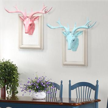 Painting Resin Deer Head Wall Decoration Hanging Wall Animal Head Resin Resin Wall Ornaments Home Accessories