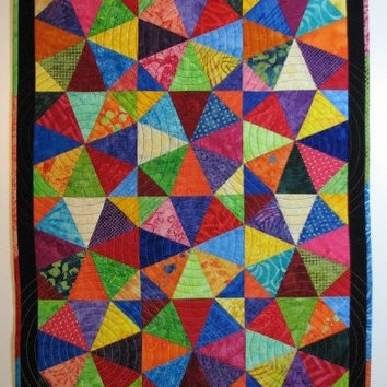 Quilted Wall Hanging, Rainbow Kaleidoscope Art Quilt, Scrappy Batik Quilt, Quiltsy Handmade