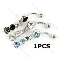 1PCS Stainless Steel Dangle Gourd Belly Bar Navel Ring Rhinestone Body Piercing