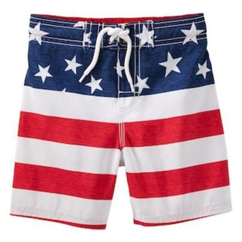 Toddler Boy Oshkosh B'gosh? Flag Swim Trunks | Null