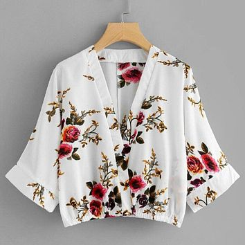 Sexy deep v neck chiffon blouse Vintage flare sleeve casual shirts summer Elastic womens tops and blouses Blusas