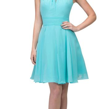Tiffany Blue A-line Short Homecoming Dress Keyhole Neckline