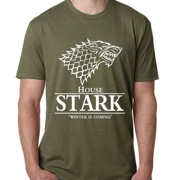 DCCKJG2 2017 Men Game of Thrones T Shirt House Stark Winter Is Coming printed summer style tees Male harajuku top fitness brand clothing