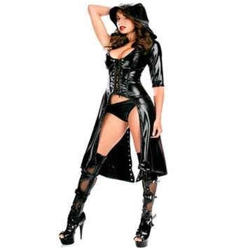 Long Style 2016 New Arrival Gothic Punk Wetlook Sweet Pea Hooded Latex Pvc Gown Dress Costume Free Drop Shipping