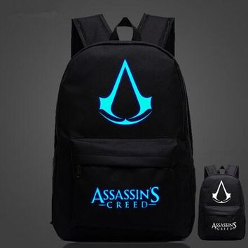 Japan Anime Lumious Assassins Creed Fairy Tail Backpack Glow in the Dark Student Schoolbag Travel Bag Gift