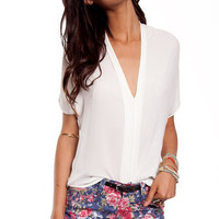 It's Meant Two V Blouse in Ivory :: tobi