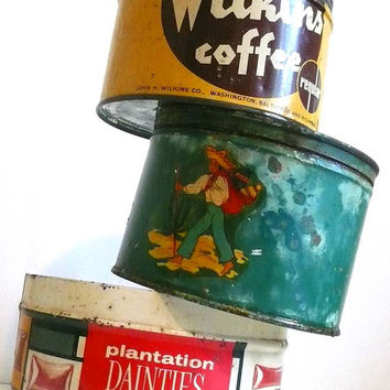 Vintage Tin Coffee Can Set of Three Kitchen Country Decor Tin Lithograph