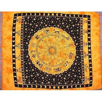 Handmade 100% Cotton Astrological Zodiac Symbol Tapestry Bedspread Full Gold