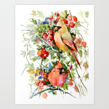 Cardinal Birds and Hawthorn Art Print by sureart
