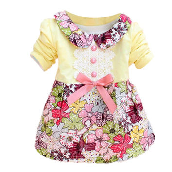 Spring Aumtum New Fashion Cute Mni Dress Floar Long  Sleeve Doll Collar Baby Girls Dress 0-24M Bow Clothes Dresses