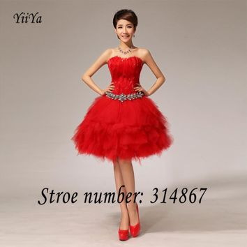 Free shipping 2017 new grils red White fashion short Feather Strapless Short Ball Gowns Bridesmaid Dresses LF117