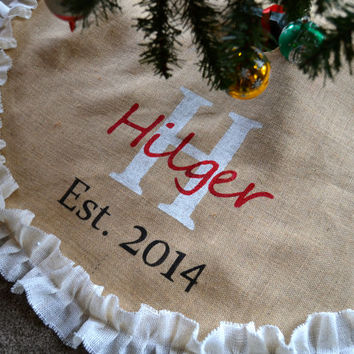 Tree Skirt- Burlap Tree Skirt -Christmas tree skirt - Est. date  Wedding gift tree skirt- Monogrammed Christmas - tree skirt - Double ruffle