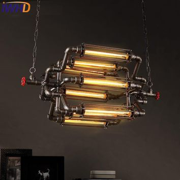 IWHD 8 Heads Style Loft Vintage Industrial Lighting Pendant Lights Iron Retro Pendant Lamp Bedroom Bar Water Pipe Hanglamp