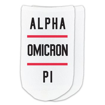 Alpha Omicron Pi - Sorority Name with Stripes on No-Show Socks