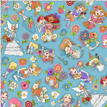 Blossom Tossed Turquoise Fabric